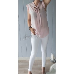 Bluzka wiązana falbanka różowa