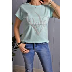 T-shirt SERCE mięta