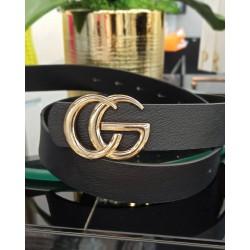 Czarny pasek CG - Złota klamra